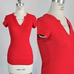 Energie T Shirt, Red, Size Large, Ribbed, V Neck